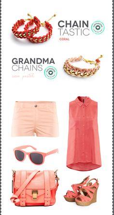Los tonos rosa y coral están de moda, combínalos con nuestros accesorios!  #coral #pink #peach #color #spring #summer #fashion #trend #accessories #bracelet