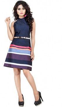 Navy Blue Color Satin Western Wear Readymade Dresses For Bachelor Girls…