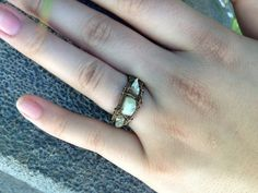 Handmade wire wrapped aquamarine ring from CrystalAndVein on Etsy! https://www.etsy.com/listing/203909699/aquamarine-wire-wrapped-ring-handmade?ref=shop_home_active_6 #aquamarine #stone #wirewrapped #ring #jewelry #handmade #accessory #crystalandvein #etsy #urban #hipster #boho #bohemian #unique #gunmetal