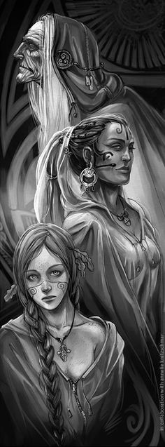 ✯ The Triple Goddess ~ Maiden, Mother and Crone :: Artist Unknown✯ This is the…