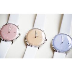 Colored ladies watches, Max Bill collection by Junghans #colors #colorfull #yellow #pink #blue #watch #ladies #maxbill #junghans