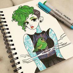 inktober make up 23 #inktober #inkedup #inkgirls #tattoo #copic #micron #sharpie #bird http://ift.tt/2ffBQP5