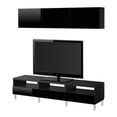 BESTÅ TV storage combination, black-brown, Tofta high-gloss/black black-brown/Tofta high-gloss/black 180x20/40x166 cm