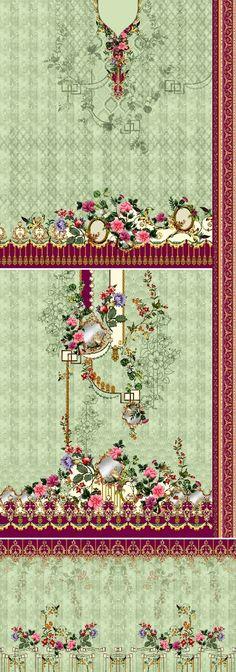 Border Design, Pattern Design, Print Design, Textiles Techniques, Album Design, Botanical Flowers, Textile Design, Kurti, Pakistani