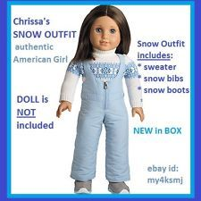 American Girl Chrissa/'s SNOW GEAR shoes tube hat mittens SET for Chrissa Doll