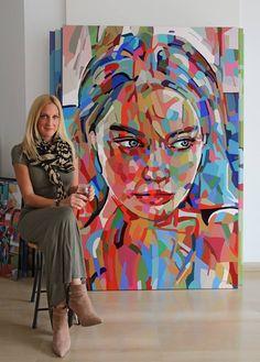 Noemi Safir Dolev Born in Uruguay. Abstract Portrait Painting, Portrait Art, Painting & Drawing, Portrait Acrylic, Arte Pop, Fine Art, Amazing Art, Art Drawings, Street Art