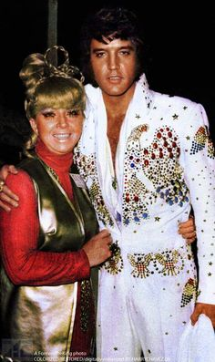 Elvis with assistant producer Mimi Seawall after Aloha From Hawaii Via Satellite Concert Special REHEARSAL January 12 - 13, 1973