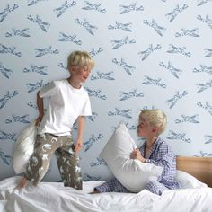 Spitfires wallpaper from PaperBoy for boys who love planes!  Would make a great feature wall in a boy's bedroom.  Comes in 4 colourways: Lilac; Red & White; Grey Brown & Blue.  Photo from PaperBoy.