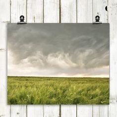 "landscape photography, wheat field, minimalist landscape, clouds, modern home decor, wall art - ""Restless Skies"" - 8x10 photograph."
