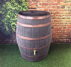From 109.99:Barrel Water Butt / 52 Gallon / 238 Litre / Jacobean Dark Oak Hogshead Ale Barrel With Brass Tap / Garden   Shopods.com