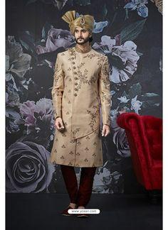 Beige Readymade Designer Indowestern Sherwani For Men Wedding Outfits For Groom, Indian Wedding Outfits, Wedding Groom, Boho Wedding, Farm Wedding, Wedding Couples, Wedding Reception, Wedding Ideas, Sherwani Groom