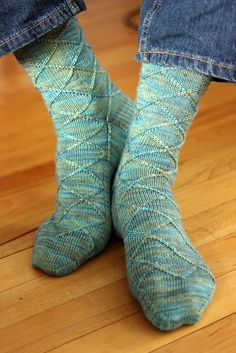Business Casual socks (free pattern), knit in Tanis Fiber Arts Blue Label Fingering in 'Lucky Penny'.