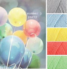 Silver, Cloud Blue, Citron, Shrimp, Spring Green (Stylecraft Special DK Yarn Colour Pallette)