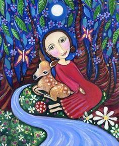 Girl with Deer Print - Whimsical Folk Art - Nursery Childrens Wall decor Art - 'Darcy'. $20.00, via Etsy.