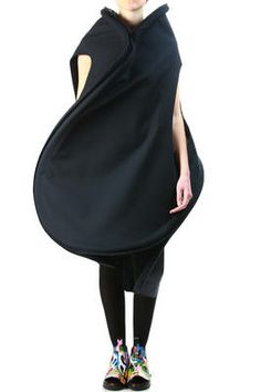 Black dress with curved 3D silhouette - sculptural fashion; contoured construction // Comme des Garçons