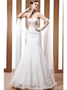 Charming A-Line Spaghetti Straps Satin and Tulle Floor-Length Wedding Dress WAL06466-G