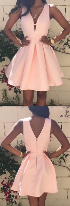 Charming Short Pink Homecoming Dress Ruched with Deep V-neck Sleeveless