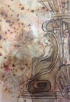 Amina, mono-print and ink onto experimental surface