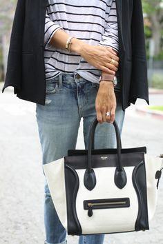 striped shirt + celine bag.