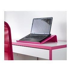 IKEA - BRÄDA, Laptop support, black, , A rubber strip on the underside keeps the laptop support firmly in place while you are working.Retaining edge keeps laptop in place.You sit comfortably with the screen at eye level thanks to the tilted surface.