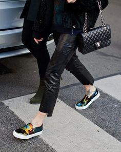 la modella mafia Spring 2014 street style - Celine slip on sneaker shoes 1