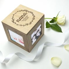 This engraved real oak photo cube, with space for 4 photos of your choice, is the perfect gift for Mother's Day. Includes Free Delivery too!