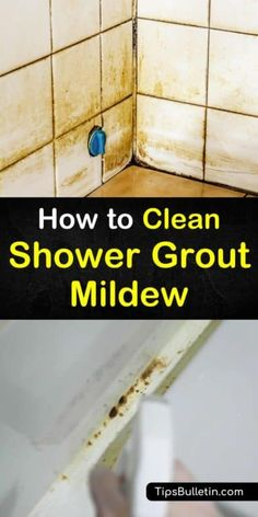 Use these four easy steps for how to clean shower grout mildew, no matter if you need to clean a mild build-of mildew or tough, stubborn mildew stains. Clean Shower Grout, Cleaning Shower Tiles, Cleaning Ceramic Tiles, Cleaning Mold, Bathroom Cleaning, House Cleaning Tips, Diy Cleaning Products, Cleaning Hacks, Deep Cleaning
