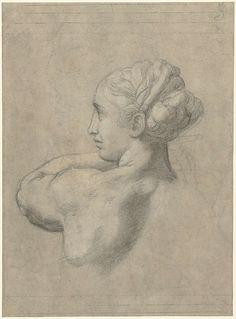 Hoofd van een vrouw, naar links, Rafaël, 1517 - 1520