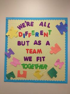 Puzzle Pieces Fit Together - Team Work Bulletin Board Staff Bulletin Boards, Preschool Bulletin Boards, Classroom Bulletin Boards, Teamwork Bulletin Boards, Motivational Bulletin Boards, Diversity Bulletin Board, Bullentin Boards, January Bulletin Board Ideas, Bulletin Board Ideas For Teachers