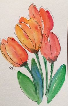Malen Watercolor tulips # tulips # watercolor, Keeping The Weeds Out - A Must! Watercolor Painting Techniques, Watercolor Projects, Watercolor And Ink, Watercolor Flowers, Painting & Drawing, Watercolor Paintings, Tulip Painting, Watercolor Portraits, Painting Tutorials