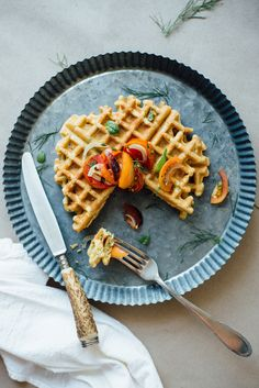 zucchini-basil chickpea waffles w/ tomato + shaved fennel salad | replace eggs to make vegan