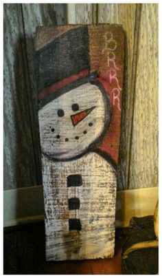 Another Snowman I drew on old wood we had for a Christmas Decoration 2015...(The Barnes)...♥