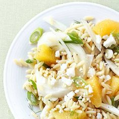 Summer Salad and Spritzer Extravaganza - Part 2 –  Orzo & Fennel Salad with a Citrus Zest + Blueberry Mint Spritzer #recipes #healthyeating