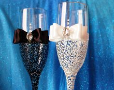 Hand Decorated Wedding Champagne Glasses by HANDMADEONLYFORYOU