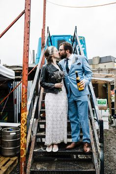 You'll find vintage bridal style, edgy city portraits and cool registry office ideas in this fun Dublin city wedding in The Bernard Shaw and The Odeon. Wedding Mad Libs, Chic Wedding, Outdoor Wedding Reception, Outdoor Weddings, Boho Gown, Bridal Jumpsuit, Dublin City, Wedding Mood Board, Space Wedding