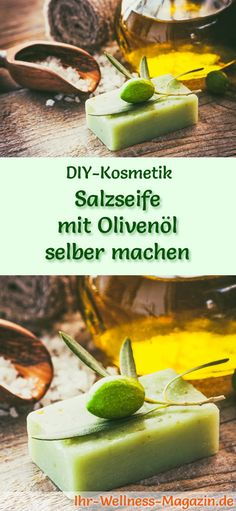 Salzseife mit Olivenöl selber machen – Seifen-Rezept & Anleitung DIY soap recipe: make salt soap with olive oil yourself – the light peeling effect of sea salt, paired with olive oil and clarifying lemon, is the perfect anti-aging agent Anti Aging Mask, Anti Aging Skin Care, Aloe Vera Creme, Make Natural, Natural Skin, Olives, Recipe Instructions, Soap Recipes, Diy Skin Care
