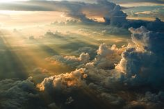 A sunset, seen from above the clouds