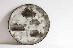 small ceramic plate black and white cloudy sky. by karoArt on Etsy, €23.00