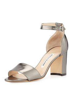 Lauratomod Specchio Ankle-Wrap Sandal, Anthracite