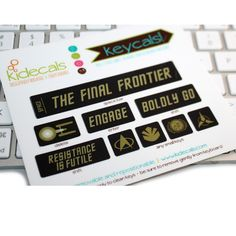 Trekkie Keycals for your Mac. Now you can channel the Final Frontier while you type with this fun set of 9 tongue-in-cheek Star Trek inspired keyboard stickers. Resistance is futile!