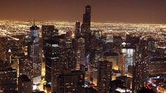 sears tower chicago chi-town skyline night