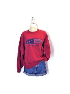 Vintage NIKE Sweatshirt / Dark Red Just Do It / 80s by SnapVintage, $28.00