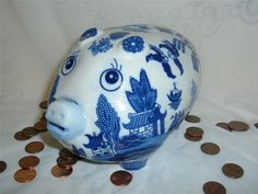 White Blue Willow Pig Piggy Bank Banks Asian Oriental Pagoda Chinese Japanese | eBay Love Blue, Blue And White, Blue Willow China, Willow Pattern, China Dinnerware, Oriental, Chinese, Asian, Japanese