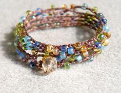 Fields of France - boho crochet wrap bracelet or necklace, bohemian jewelry, summer mix, boho chic. $28.00, via Etsy.