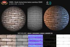 Rustic facing bricks texture seamless + maps