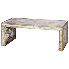 """48""""W x 18""""H x 24""""D  $2300 Antique mirror coffee table with gold leaf"""