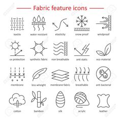 fabric and clothes feature line icons. elements - cotton wool waterproof uv protection breathable fiber and more. textile industry pictograms for garments. Textiles, Textile Logo, Industry Logo, Textile Industry, Clothing Tags, Free Vector Art, Vector Icons, Line Icon, Pictogram