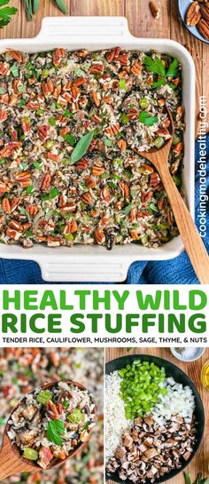 Healthy Wild Rice Stuffing with tender rice, mushrooms, cauliflower, sage, and thyme is perfect to serve for Thanksgiving or Christmas. Gluten free, under 200 calories, and a delicious crowd pleaser.