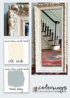white wash an log gilded mirror to update it. Annie Sloan Chalk paint.