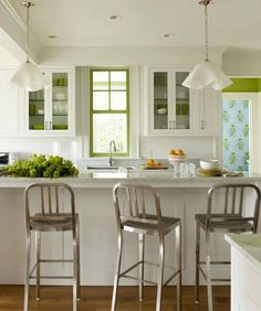 Kitchen, Pretty Green Accents Breakfast Bar Ceiling Lighting Crown Molding Eat In Kitchen Glass Front Cabinets Green Accent Island Lighting An Article With Picture About Eat In Kitchen Designs With Some Design Table Chairs Cabinet ~ Eat In Kitchen Designs With Some Design For Table And Chairs